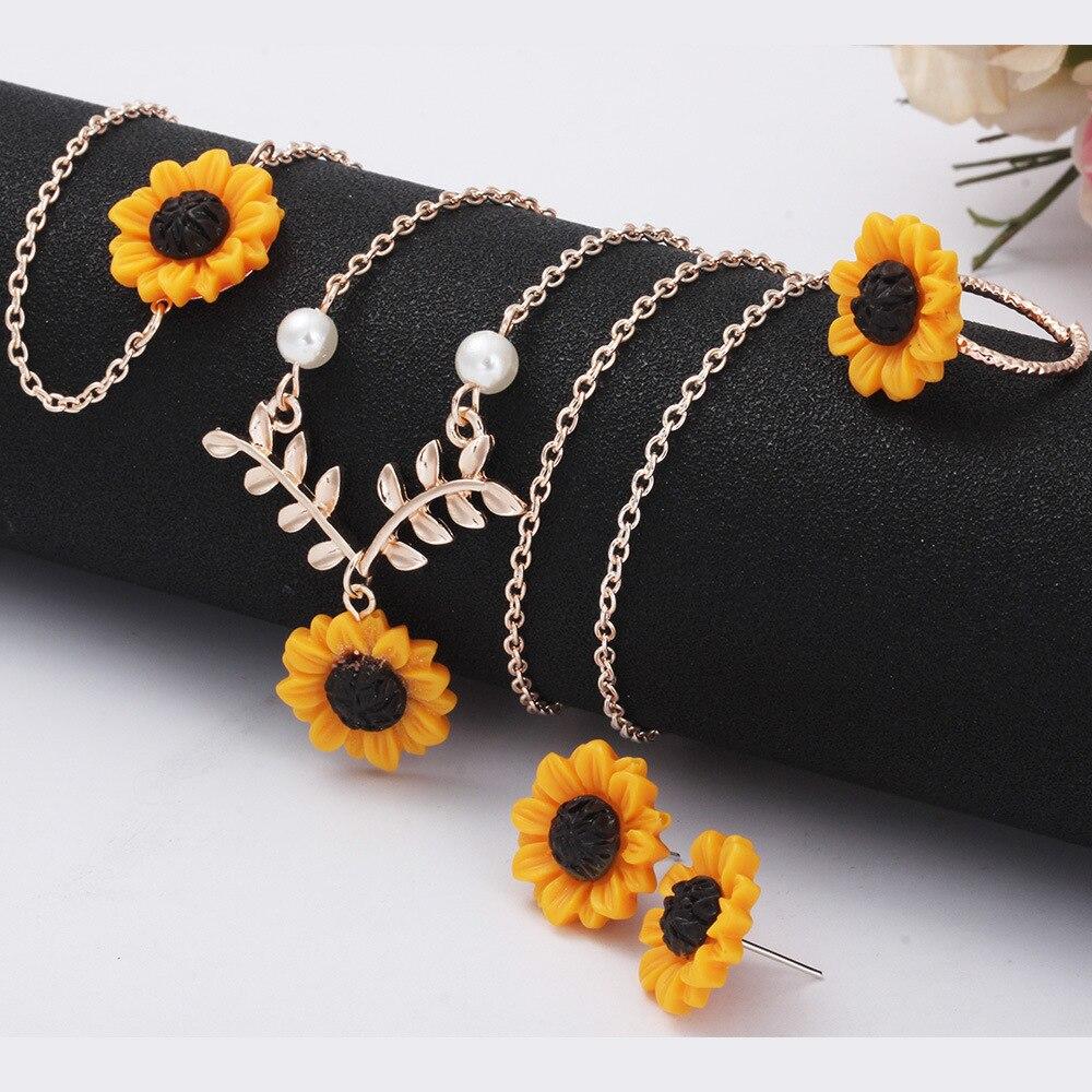 unique sunflower pearl leaf necklace