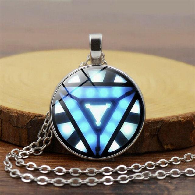 Iron Man Arc Reactor Glass Pendant Necklaces for marvel fans