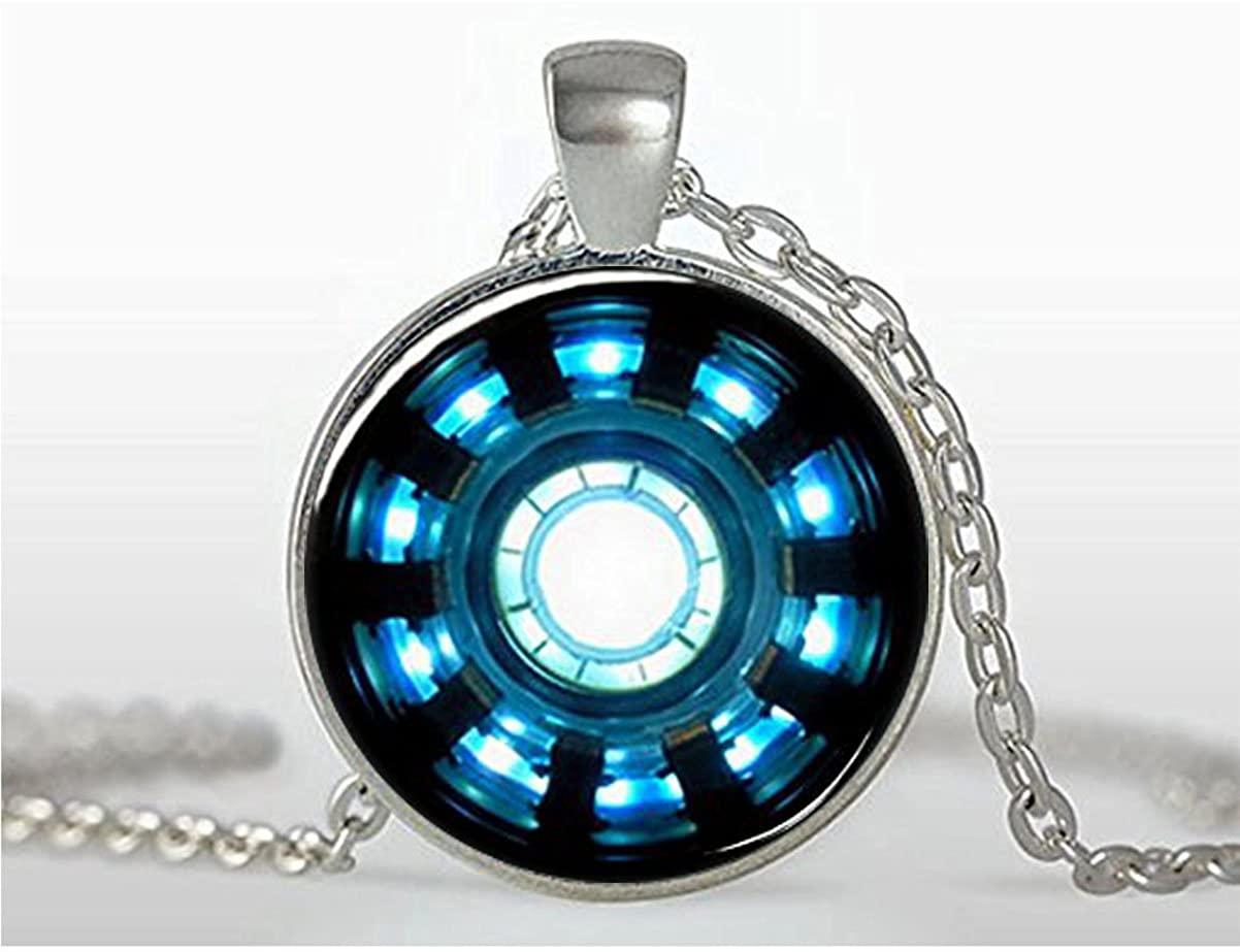 marvel Arc Reactor Glass Pendant Necklaces