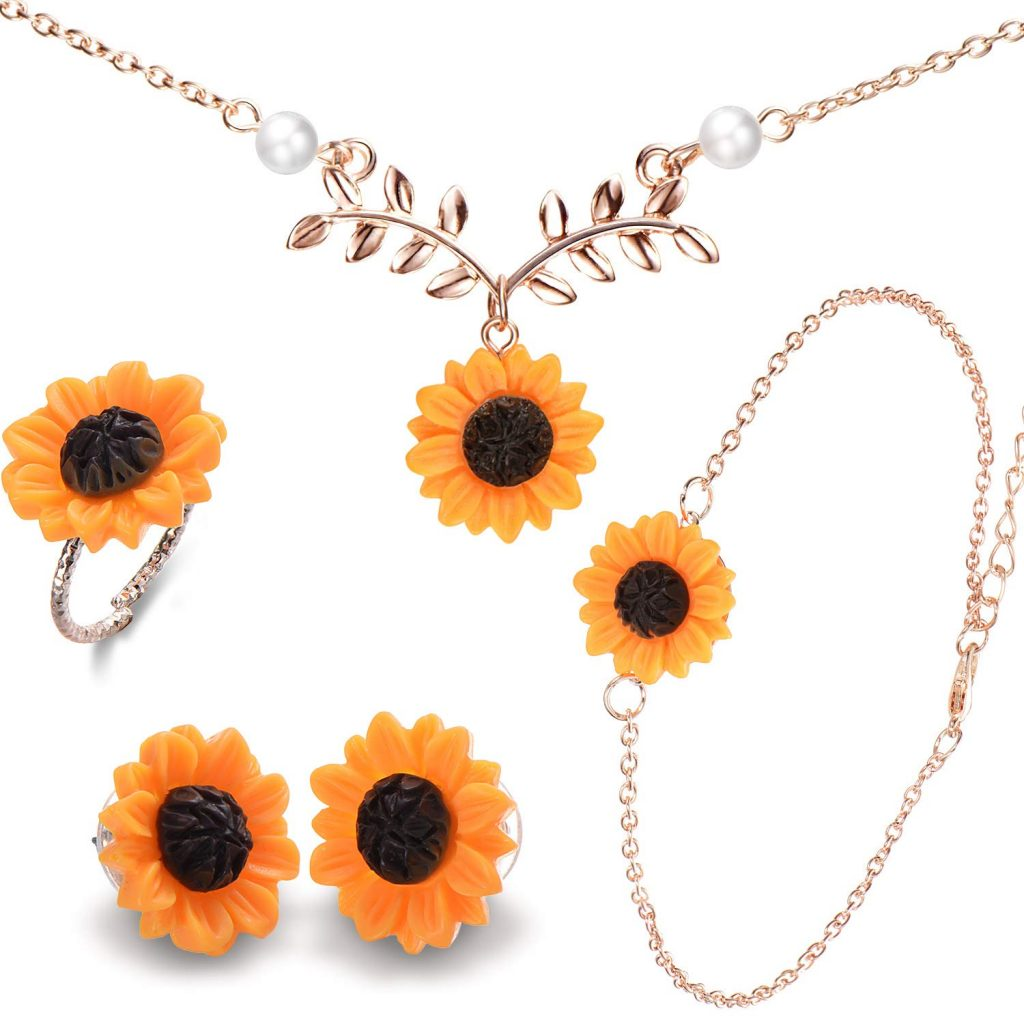 sunflower pearl leaf necklace