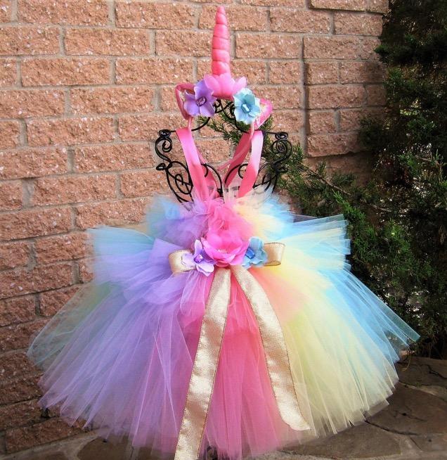 Girls Rainbow Layered Tulle Tutu Skirt with Unicorn Headband & Hair Bow