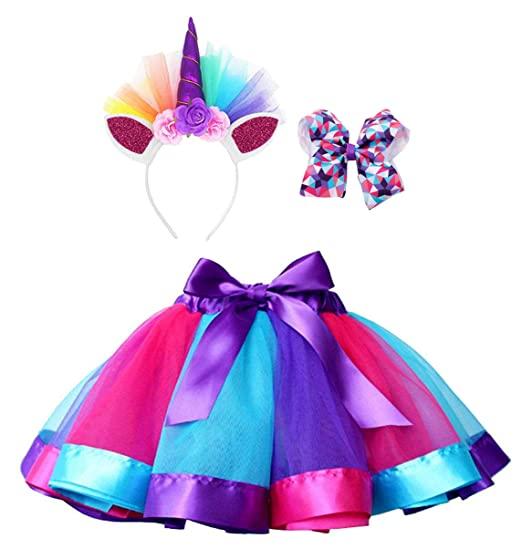 Rainbow Layered Tulle Tutu Skirt with Unicorn Headband