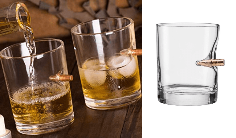 Unique whiskey glass with bullet