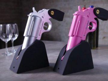 Gun wine opener