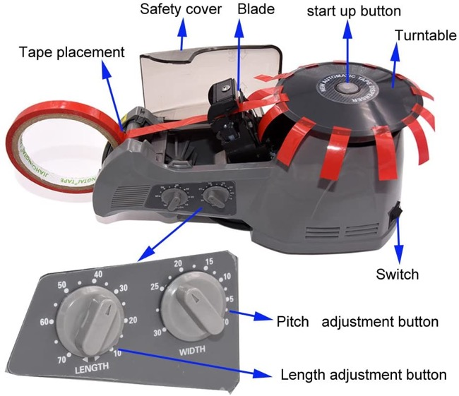 features of automatic tape dispenser machine