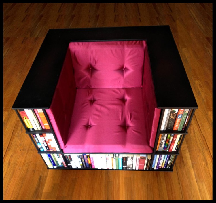 Reading chair with built in bookcase