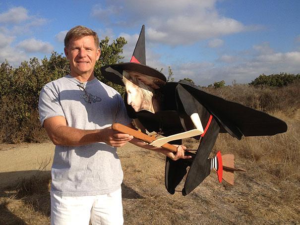 Remote control cardboard flying witch